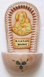 Picture of Our Lady of S. Luca Holy Water Stoup cm 15 (5,9 in) Hand-painted Glazed Ceramic