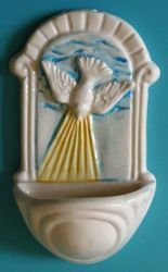 Picture of Confirmation. Holy Water Stoup in glazed ceramic, hand-painted in Deruta (Italy).  <br />cm 12x7 (4,7x2,8 in)