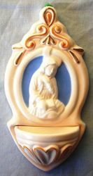 Picture of Virgin Mary Annunciation Holy Water Stoup cm 22 (8,7 in) Hand-painted Glazed Ceramic