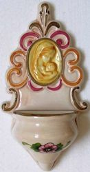 Picture of Madonna and Child Holy Water Stoup cm 22 (8,7 in) Hand-painted Glazed Ceramic