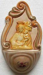 Imagen de Virgen con el Niño Pila de Agua Bendita cm 14 (5,5 in) Cerámica vidriada Benditera pintada a mano