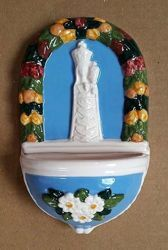 Picture of Our Lady of Loreto and flowers Holy Water Stoup cm 15 (5,9 in) Hand-painted Glazed Ceramic