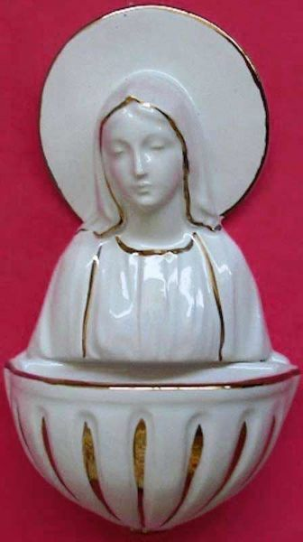 Imagen de Virgen Milagrosa Pila de Agua Bendita cm 15 (5,9 in) Cerámica vidriada Benditera Blanca y Oro