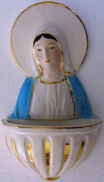 Immagine di Madonna Miracolosa Acquasantiera cm 15 (5,9 in) Ceramica invetriata Colorata filo Oro