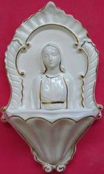 Imagen de Virgen Milagrosa Pila de Agua Bendita cm 26 (10,2 in) Cerámica vidriada Benditera Blanca y Oro