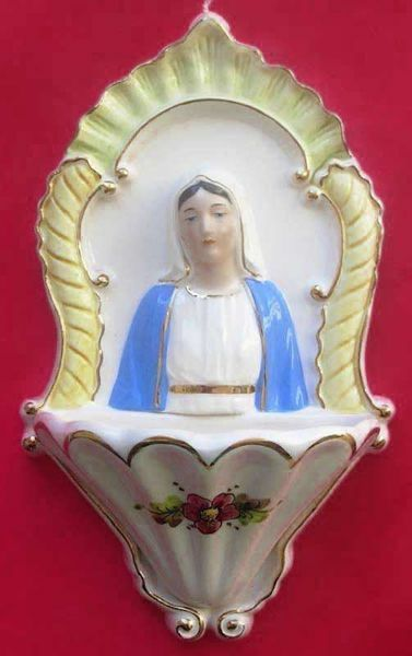 Picture of Miraculous Virgin Mary Holy Water Stoup cm 26 (10,2 in) Glazed Ceramic Gold finish