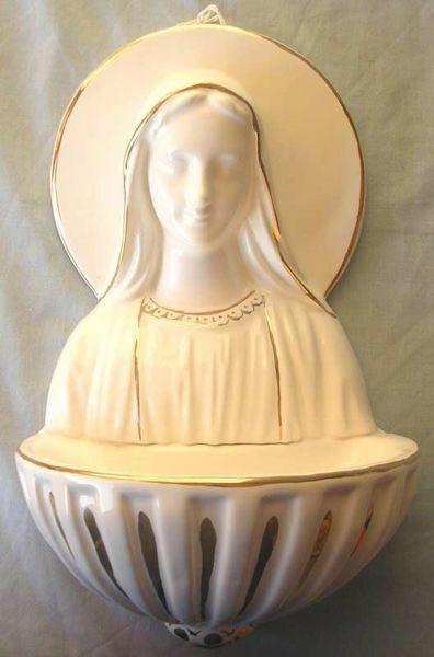 Immagine di Madonna Miracolosa Acquasantiera cm 34 (13,4 in) Ceramica invetriata Bianca filo Oro