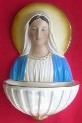 Imagen de Virgen Milagrosa Pila de Agua Bendita cm 34 (13,4 in) Cerámica vidriada pintada hilo de oro