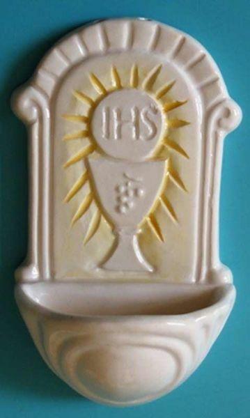 Immagine di Prima Comunione Acquasantiera cm 12x7 (4,7x2,8 in) Ceramica invetriata dipinta a mano