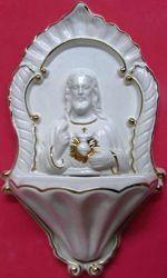 Imagen de Sagrado Corazón de Jesús Pila de Agua Bendita cm 26 (10,2 in) Cerámica vidriada Benditera Blanca y Oro