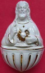 Imagen de Sagrado Corazón de Jesús Pila de Agua Bendita cm 15 (5,9 in) Cerámica vidriada Benditera Blanca y Oro