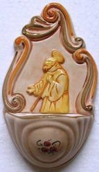 Picture of St. Francis of Paola Holy Water Stoup cm 14 (5,5 in) Hand-painted Glazed Ceramic