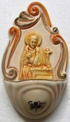 Picture of St. Lawrence of Rome Holy Water Stoup cm 14 (5,5 in) Hand-painted Glazed Ceramic