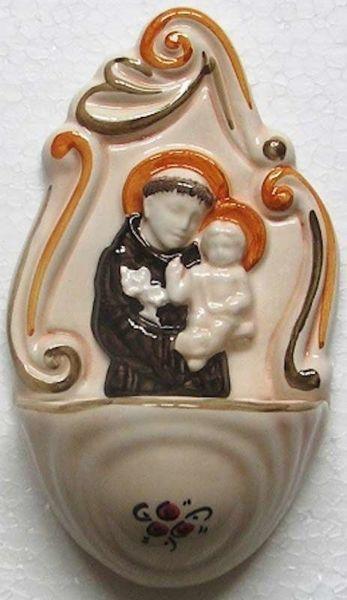 Immagine di Sant' Antonio Acquasantiera cm 14 (5,5 in) Ceramica invetriata dipinta a mano