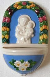 Picture of St. Anthony Holy Water Stoup cm 15 (5,9 in) Hand-painted Glazed Ceramic