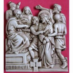 Picture of Via Crucis 14 or 15 Stations cm 30x25 (11,8x9,8 in) Bas relief Panels in Deruta Glazed Ceramic Way of the Cross