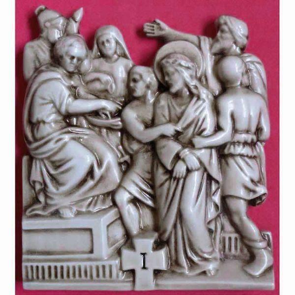 Imagen de Vía Crucis 14 o 15 Estaciones cm 30x25 (11,8x9,8 in) Paneles Bajorrelieve Cerámica vidriada Deruta