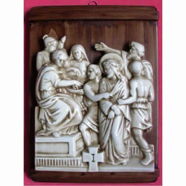 Imagen de Vía Crucis 14 o 15 Estaciones cm 36x27 (14,2x10,6 in) Paneles Bajorrelieve Cerámica Deruta Mesa de Madera