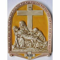 Picture of Via Crucis 14 or 15 Stations cm 50x36 (19,7x14,2 in) Bas relief Panels Glazed Ceramic Della Robbia Yellow Way of the Cross