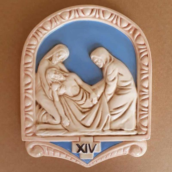 Picture of Via Crucis 14 or 15 Stations cm 26x20 (10,2x7,9 in) Bas relief Panels Glazed Ceramic Della Robbia Blue Way of the Cross