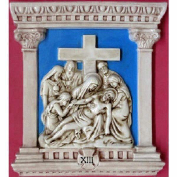 Imagen de Vía Crucis 14 o 15 Estaciones cm 44x40 (17,3x15,7 in) Paneles Bajorrelieve Cerámica Robbiana Azul