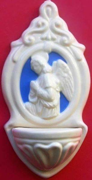 Immagine di Angelo Annunciazione Acquasantiera cm 22 (8,7 in) Bassorilievo Ceramica Robbiana