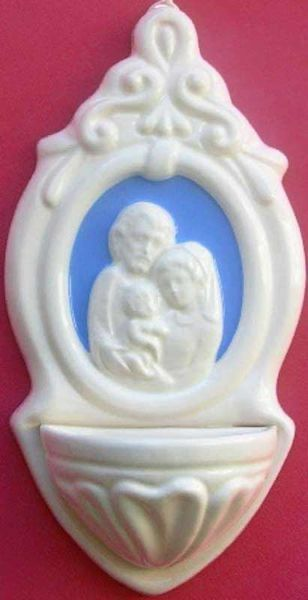 Picture of  Holy Family Holy Water Stoup cm 22 (8,7 in) Bas relief Glazed Ceramic Della Robbia