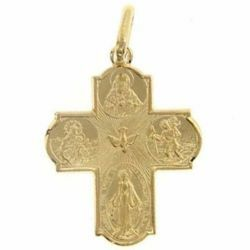 Picture of Scapular Cross Miraculous Medal, Blessed Virgin of Carmel, Sacred Heart of Jesus, St. Christopher, Holy Spirit Pendant gr 2,3 Yellow solid Gold 18k Unisex Woman Man