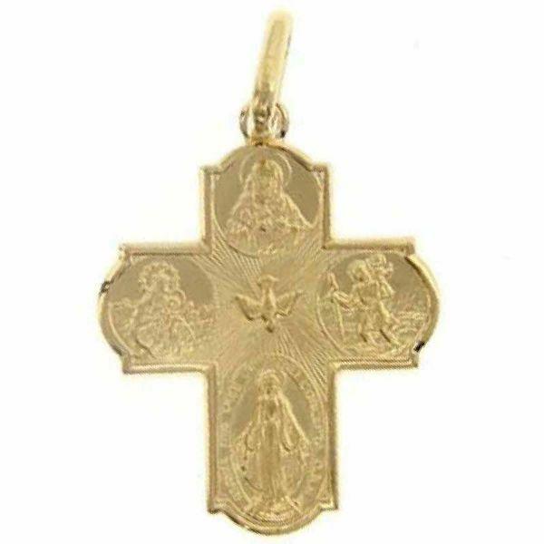 Imagen de Cruz Escapular Nuestra Señora Milagrosa, Santísima Virgen del Carmelo, Sagrado Corazón de Jesús, San Cristóbal, Espíritu Santo Colgante gr 2,3 Oro amarillo 18kt