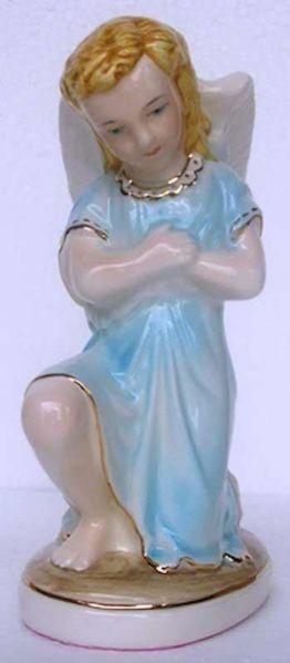 Immagine di Statua Angelo in Preghiera cm 17 (6,7 in) Ceramica invetriata di Deruta dipinta a mano