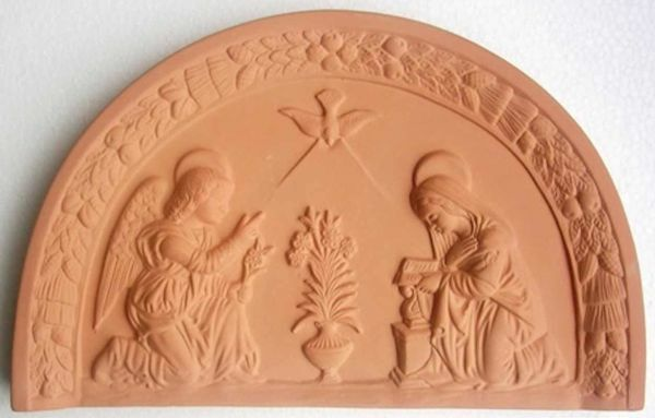 Picture of Annunciation Wall Lunette cm 34x21 (13,4x8,3 in) Bas-relief Terracotta