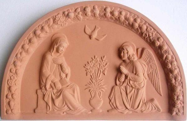 Immagine di Annunciazione Lunetta da Muro cm 60x38 (23,6x15 in) Bassorilievo Terracotta