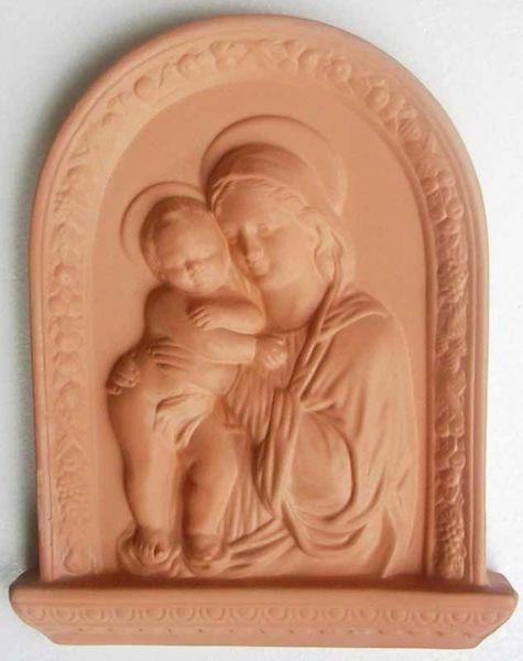 Imagen de Virgen con el Niño Retablo de pared cm 33x26 (13x10,2 in) Bajorrelieve Terracota