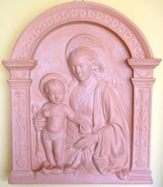 Picture of Madonna and Child Wall Panel cm 70x60 (27,6x23,6 in) Bas-relief Terracotta