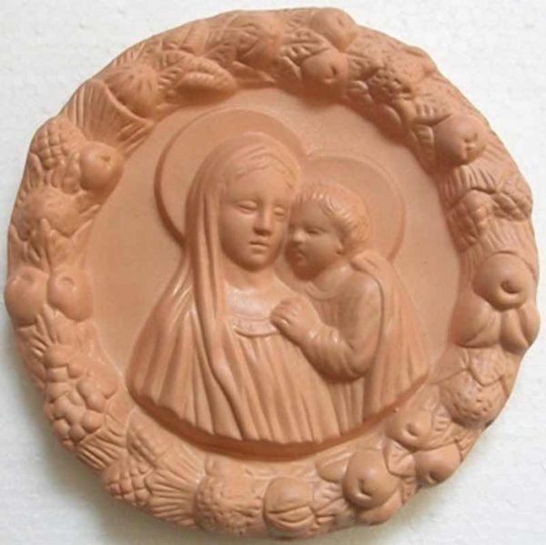 Immagine di Madonna con Bambino Tondo da Muro diam. cm 16 (6,3 in) Bassorilievo Terracotta