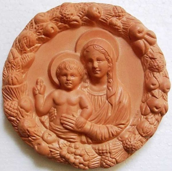 Picture of Madonna and Child Wall Tondo diam. cm 16 (6,3 in) Bas-relief Terracotta