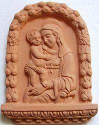 Imagen de Nuestra Señora de Boccadirio Retablo de pared cm 20x15 (7,9x5,9 in) Bajorrelieve Terracota