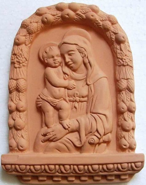 Picture of Our Lady of Boccadirio Wall Panel cm 20x15 (7,9x5,9 in) Bas-relief Terracotta
