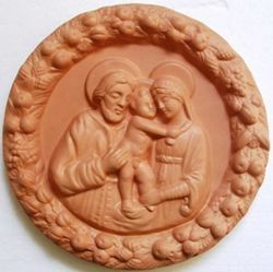 Picture of Holy Family Wall Tondo diam. cm 25 (9,8 in) Bas-relief Terracotta