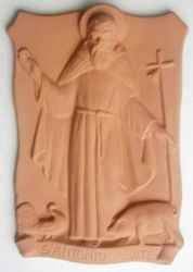 Picture of St. Anthony Abbot Wall Panel cm 37x25 (14,6x9,8 in) Bas-relief Terracotta