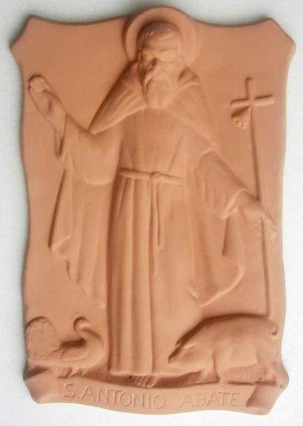 Immagine di Sant' Antonio Abate Quadro da Muro cm 37x25 (14,6x9,8 in) Bassorilievo Terracotta
