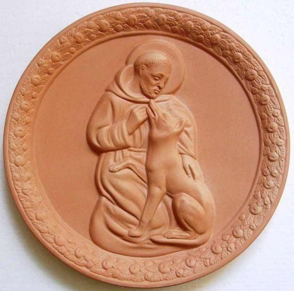 Immagine di San Francesco e il Lupo Tondo da Muro diam. cm 30 (11,8 in) Bassorilievo Terracotta