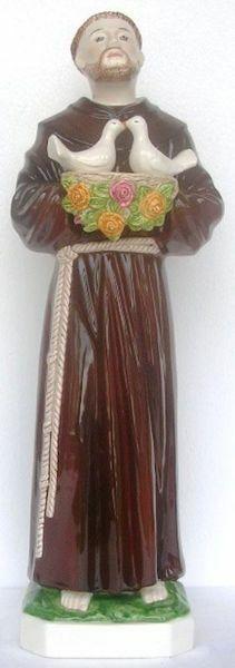 Imagen de Estatua San Francisco y las Palomas cm 60 (23,6 in) Cerámica vidriada de Deruta pintada a mano