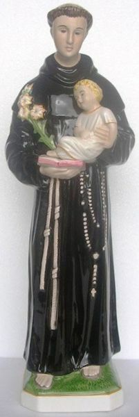 Picture of Statue St. Anthony of Padua cm 60 (23,6 in) Hand-painted glazed Ceramic of Deruta