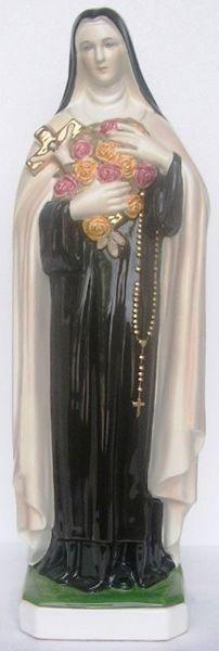 Immagine di Statua Santa Teresa d'Avila cm 60 (23,6 in) Ceramica invetriata di Deruta dipinta a mano