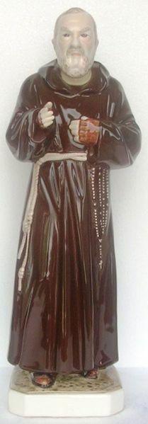 Immagine di Statua Santo Padre Pio da Pietrelcina cm 60 (23,6 in) Ceramica invetriata di Deruta dipinta a mano