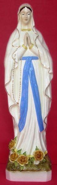 Immagine di Statua Madonna di Lourdes cm 80 (31,5 in) Maiolica invetriata di Deruta dipinta a mano