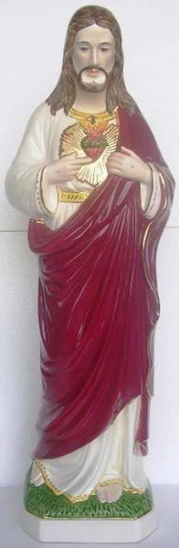 Picture of Statue Sacred heart of Jesus cm 80 (31,5 in) Hand-painted glazed Ceramic of Deruta