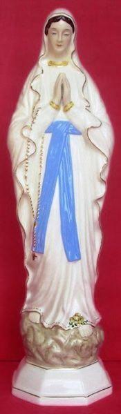 Imagen de Estatua Nuestra Señora de Lourdes cm 60 (23,6 in) Cerámica vidriada de Deruta pintada a mano
