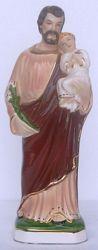 Immagine di Statua San Giuseppe cm 24 (9,4 in) Ceramica invetriata di Deruta dipinta a mano